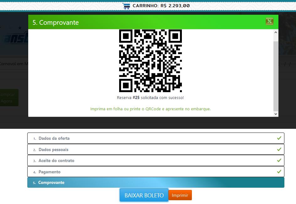 QRcode para embarque do cliente