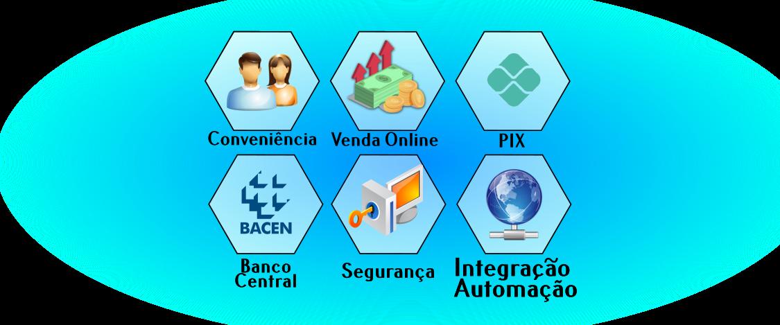 conveniência, venda online, pix, banco central, segurança, integração, automação